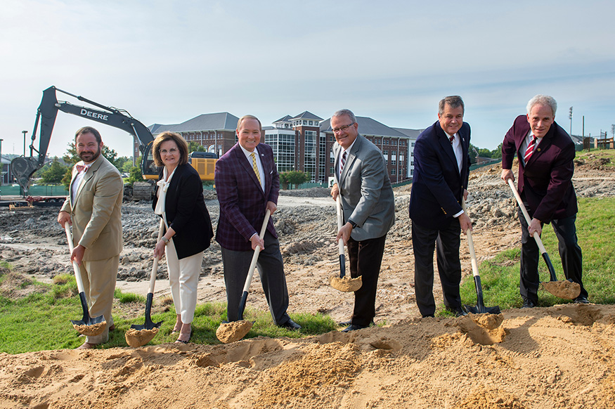 MSU officials break ground on a new 500-space parking garage.