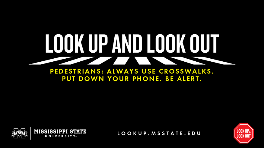 Look Up and Look Out promotional campaign graphic black with white text