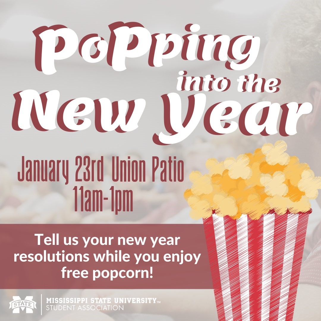 Promotional graphic for MSU Student Association's Popping into the New Year event