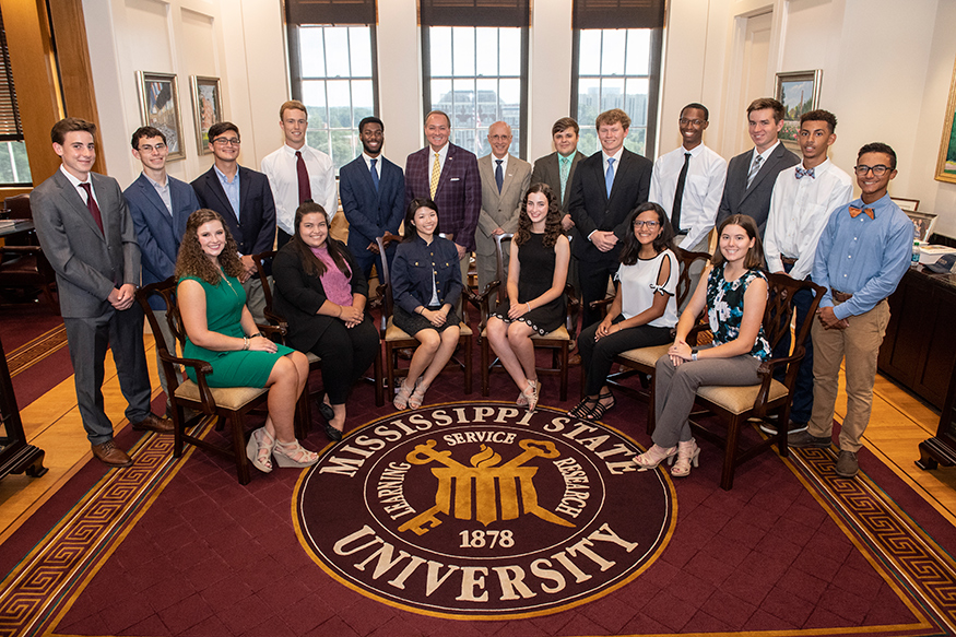 MSU's newest Provost Scholars, pictured with Provost Shaw and President Keenum in the president's suite in Lee Hall.