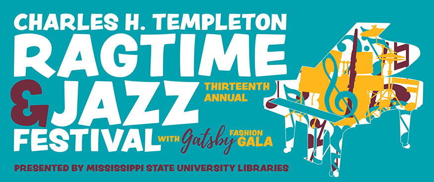 "Aqua graphic with the words ""Charles H. Templeton Ragtime and Jazz Festival"" in white lettering"
