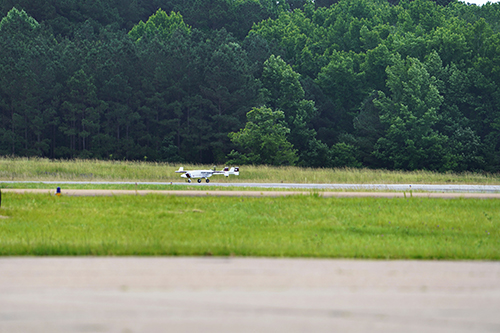 A MSU TigerShark Block 3 XP aircraft taxis on the runway at Jackson-Medgar Wiley Evers International Airport before taking off for a flight in controlled airspace on Wednesday [May 26].