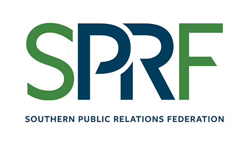Green and blue logo for the Southern Public Relations Federation, or SPRF