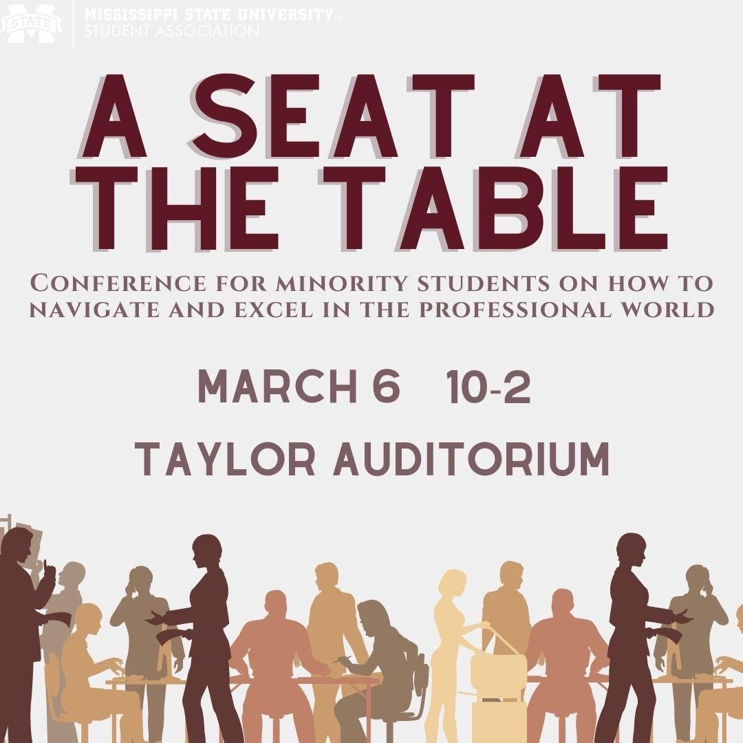 "Orange, yellow and brown images of people on a graphic promoting the MSU Student Association's ""A Seat at the Table"" event on March 2"