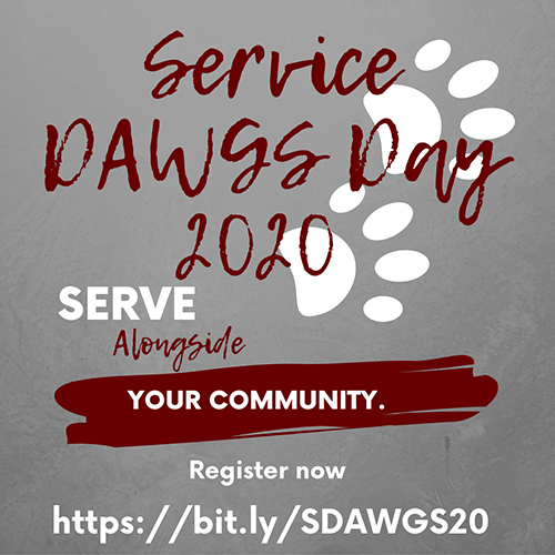 Maroon, white and gray graphic with white paw prints promoting Service D.A.W.G.S. Day