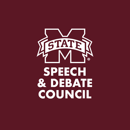 "Maroon M-State logo with ""Speech & Debate Council"" text"