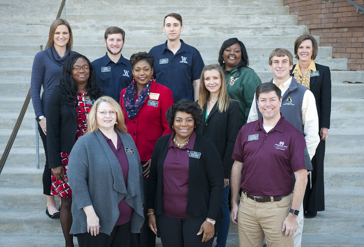 Pictured are (front, left-right) Susan Brooks, Tamara Gibson and Darrell Easley, all of MSU; (second row, left-right) Gazel Giles and Deetra Wiley of University of Mississippi, Caitlyn Thompson of Delta State University, and Charles Childress of University of Southern Mississippi; (third row, left-right) April Broome of USM, Tyler Wheat and Nick Adams of Mississippi University for Women, Cassandra Pete-McNealy of Mississippi Valley State University and Karen Reidenbach of USM. (Photo by Russ Houston)