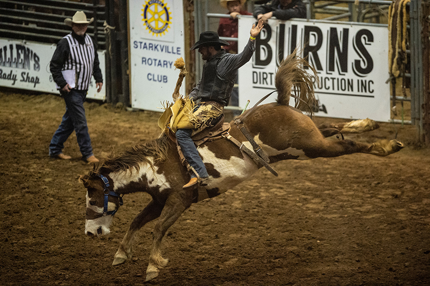 A man rides a horse at the 2019 Rotary Classic Rodeo.
