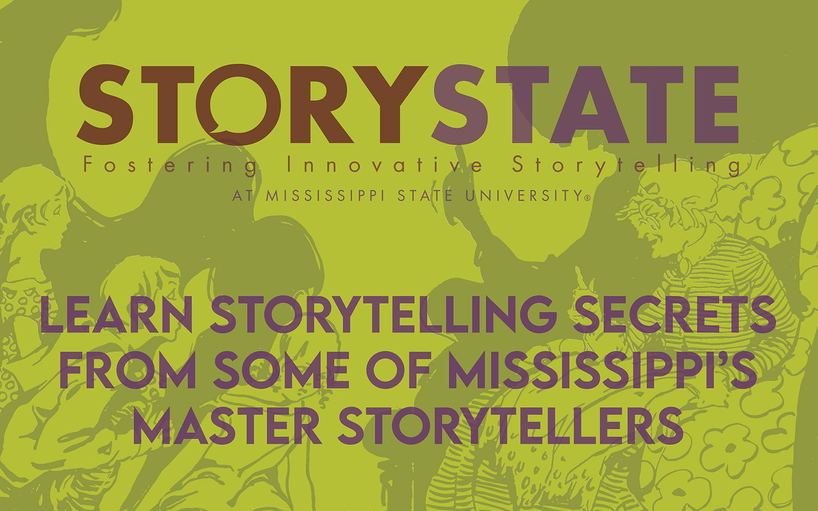 Story State flyer with purple text on green background