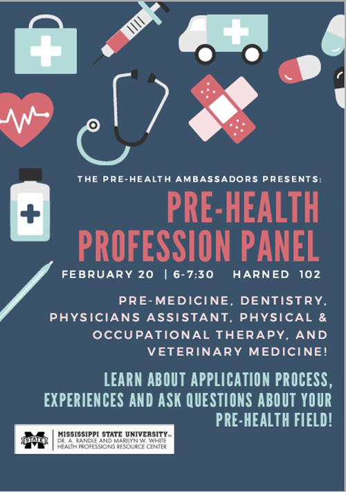 Pre-Health Profession Panel flyer