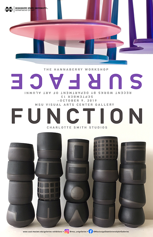 "Running Sept. 13 through Oct. 9 at Mississippi State's Visual Arts Center Gallery, ""SURFACE • FUNCTION"" is an exhibition of recent work by MSU Department of Art alumni Charlotte Smith, Sarah Qarqish and Morgan Welch."