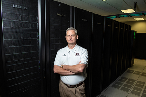 Trey Breckenridge, director of high performance computing at Mississippi State's High Performance Computing Collaboratory, said MSU's new supercomputer Orion will enable scientists to conduct more advanced computational research benefiting citizens across Mississippi, the U.S. and world. (Photo by Logan Kirkland)