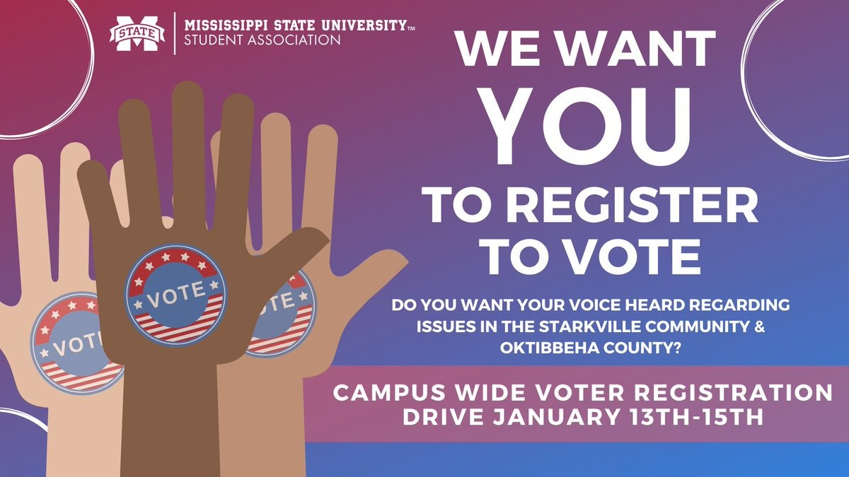 Promotional graphic for MSU Student Association's Voter Registration Drive