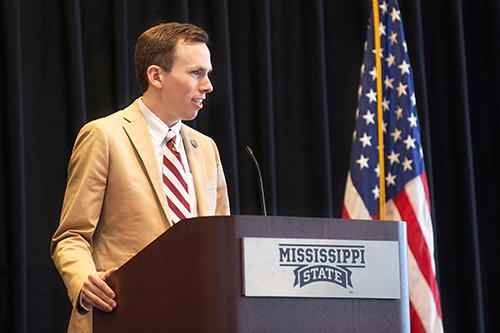 State Auditor Shad White speaks to MSU students during a Tuesday [Sept. 24] National Voter Registration Day presentation in Colvard Student Union.