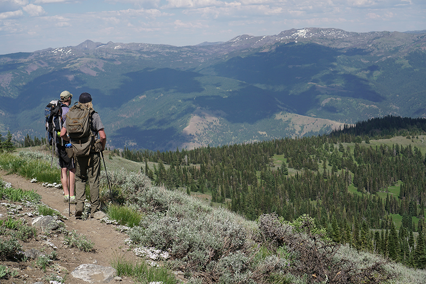 Brandon Barton and a colleague hiking in the Intermountain West, overlooking a valley with mountains in the background