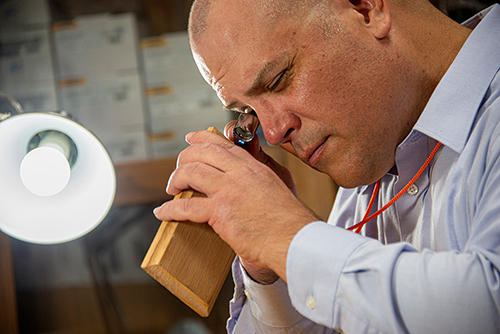 Sustainable Bioproducts Assistant Professor Frank Owens looks through a magnifying glass at a red oak specimen from the David A. Kribs wood collection.