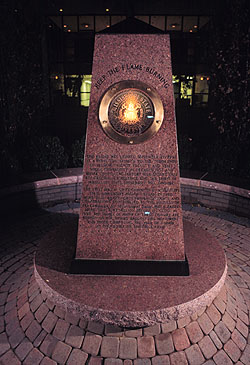 The eternal flame monument at night