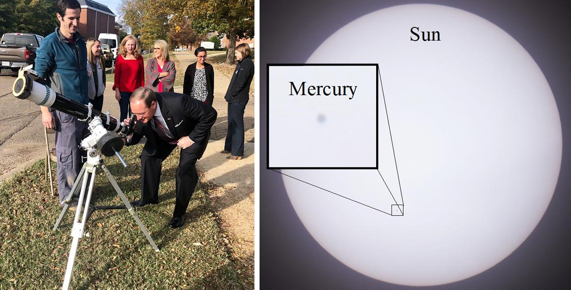 MSU President Mark E. Keenum leans down to look through a telescope near Hilbun Hall. Diagram of Mercury passing in front of the sun.