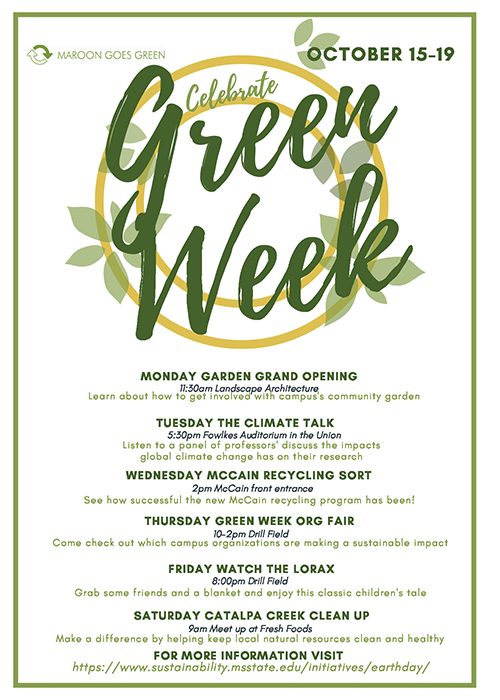 An infographic for MSU Green Week events.