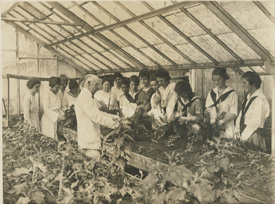 Early black and white photo of MSU students learning about agriculture.