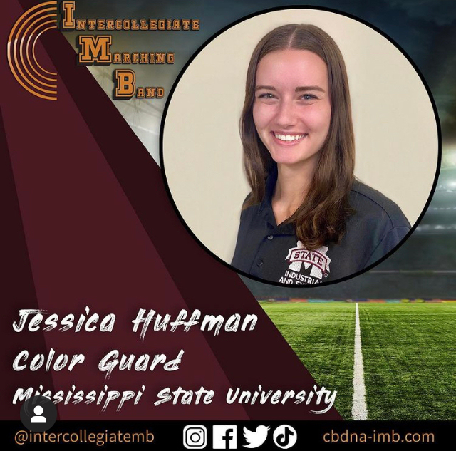 Jessica Huffman, an industrial engineering senior performing with the color guard.