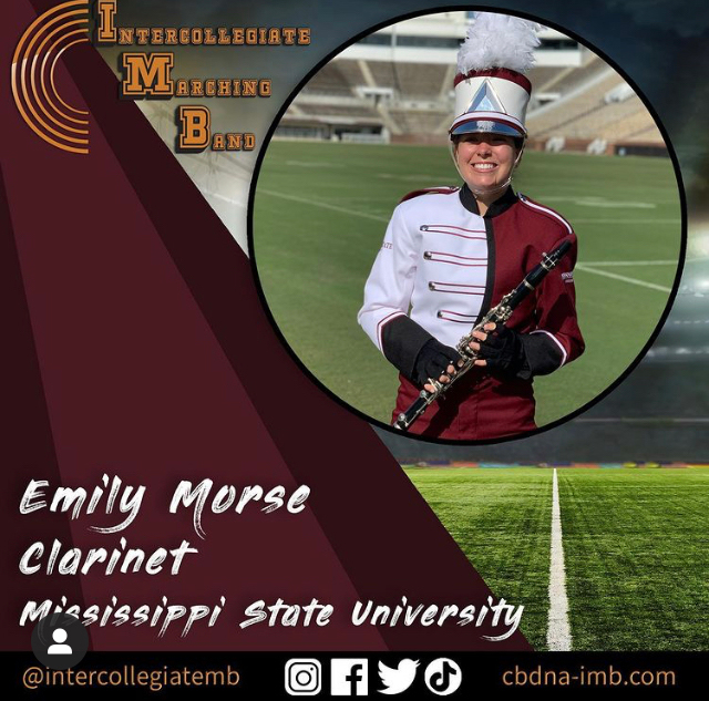 Emily Morse, a senior clinical exercise physiology major playing clarinet.