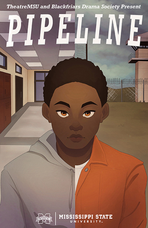 A drawing of an African-American male teenager in front of a split background, showing both a school and a prison scene