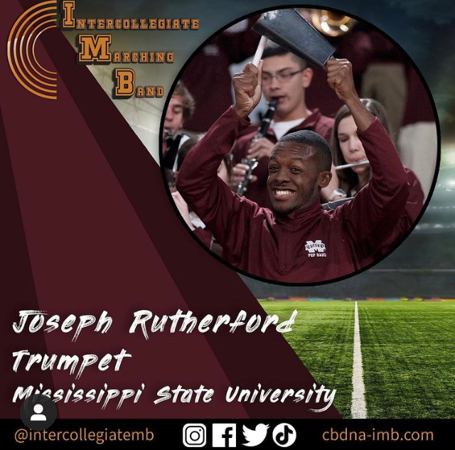 Joseph Rutherford, a computer engineering junior playing trumpet.