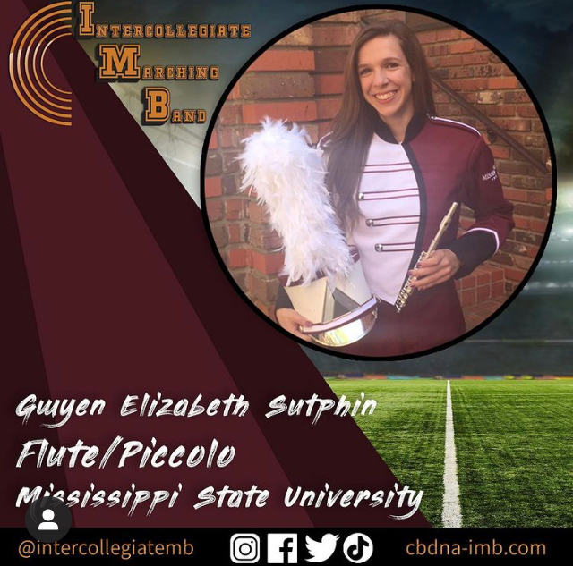 Gwyen Elizabeth Sutphen, a fall business administration graduate and a graduate student in information systems playing flute/piccolo.