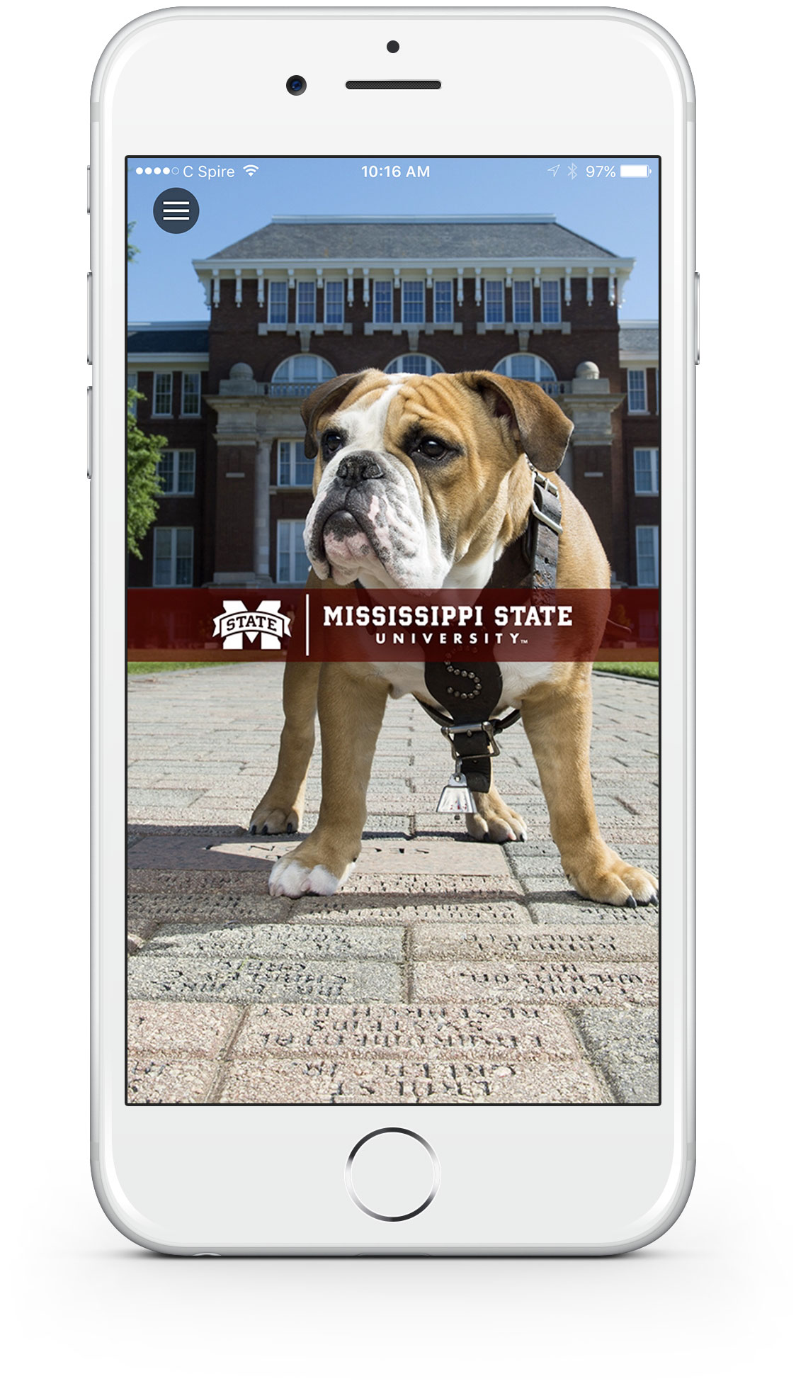 Home screen for the myState mobile app. Pictured is Bully on the Drill Field with app menu link in top left corner.