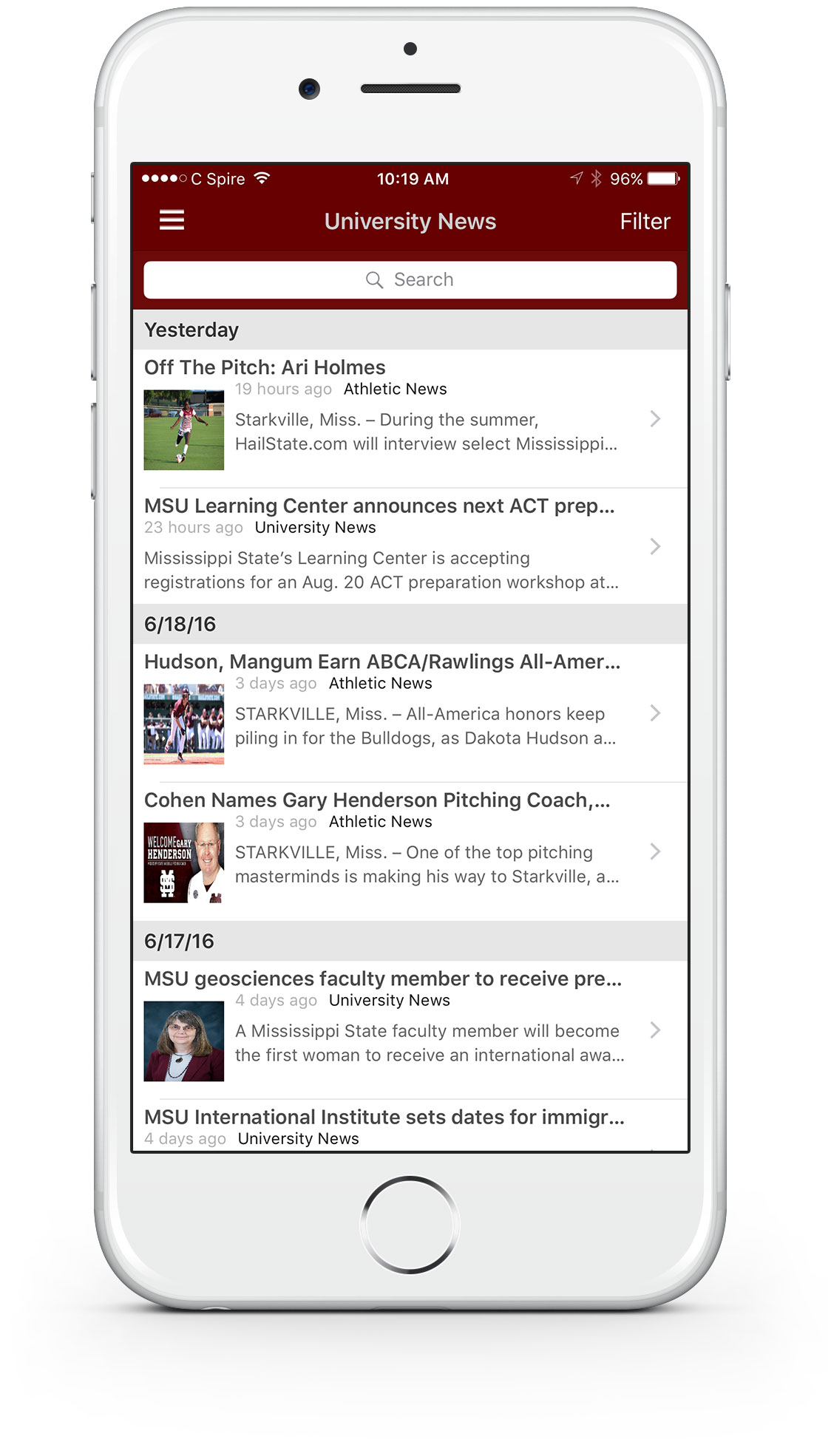 Rendering of myState Mobile app on the University News section within the app.