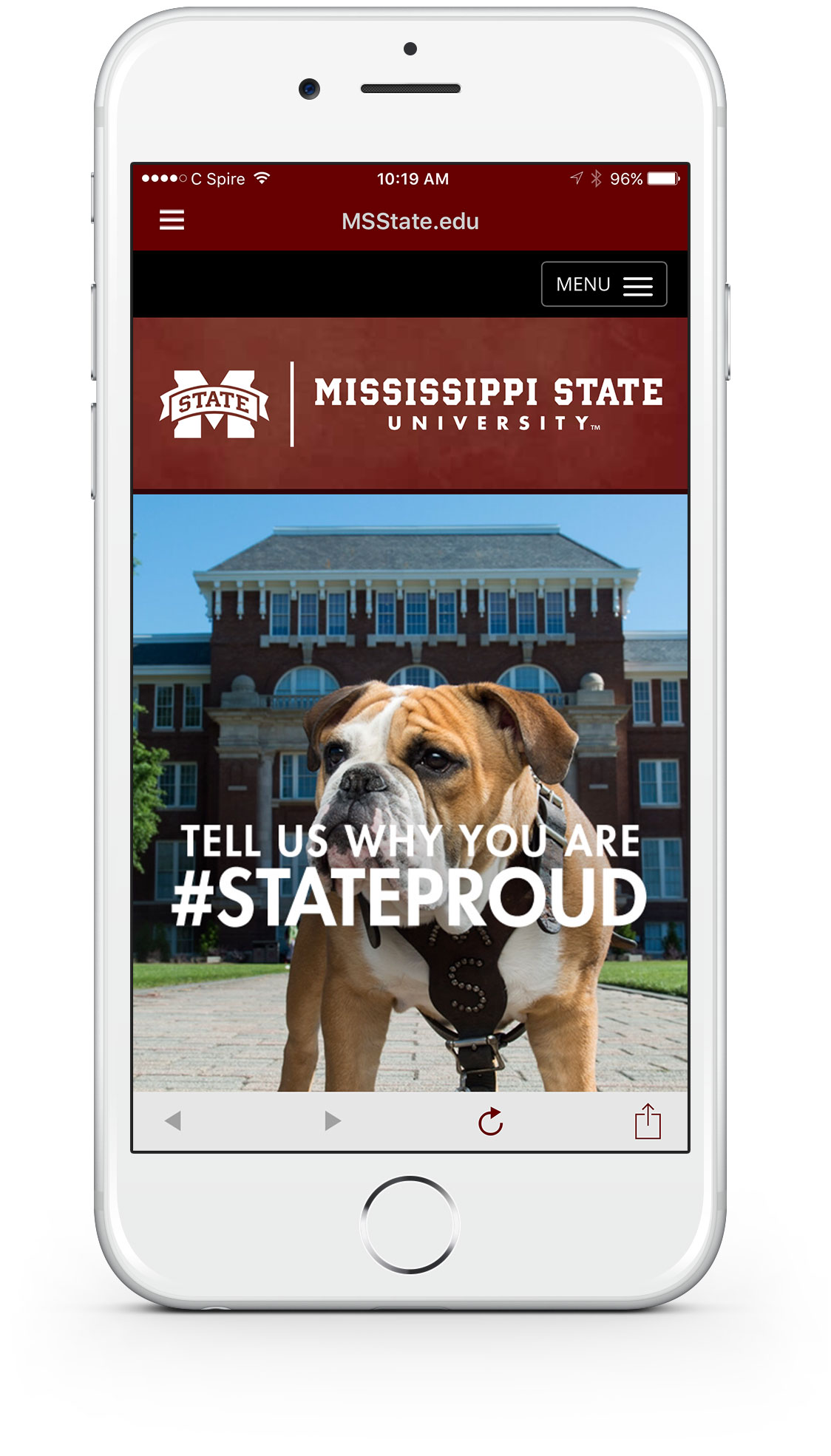 Rendering of the msstate.edu mobile site within the myState Mobile app.